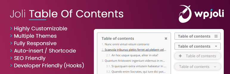 Joli Table Of Contents plugin WordPress by WPJoli